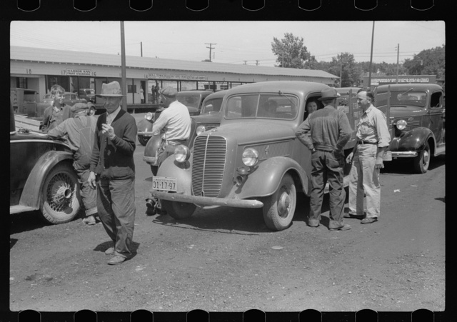 Farmers at produce market, Benton Harbor, Michigan