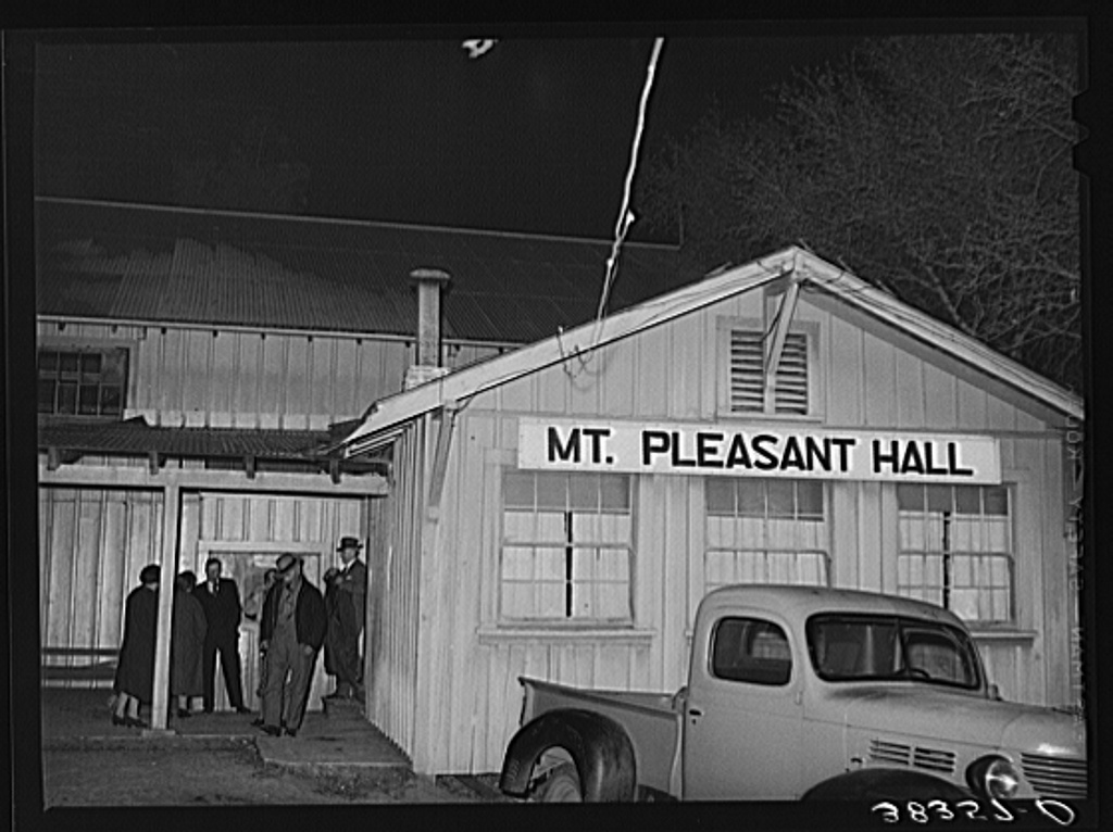 Farmers leaving night meeting. Gold Hill, Placer County, California