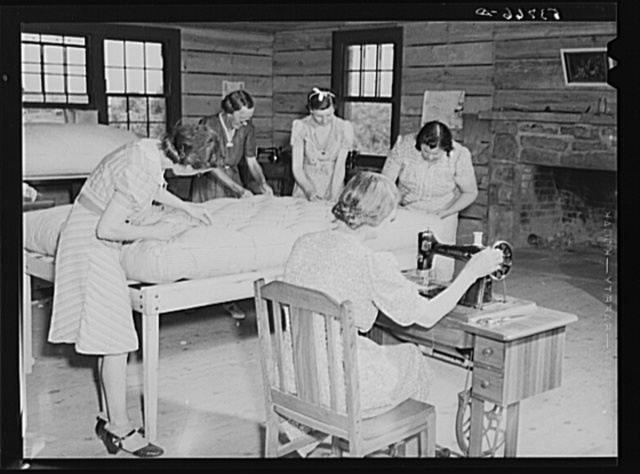 Farmers' wives working in mattress-making unit. Community service center, Faulkner County, Centerville, Arkansas (see general caption)