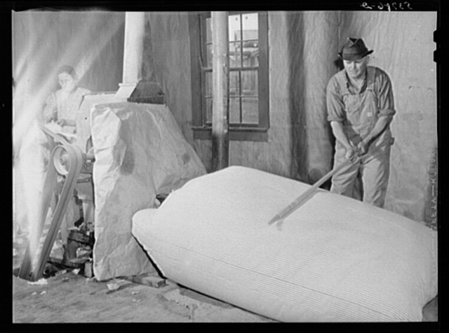 Farmers working in mattress-making unit. Community service center, Faulkner County, Centerville, Arkansas (see general caption)