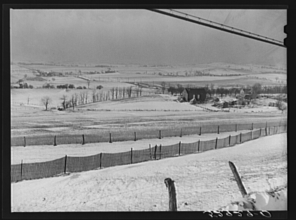 Farms and general landscape from highway between Frederick and Hagerstown, Maryland