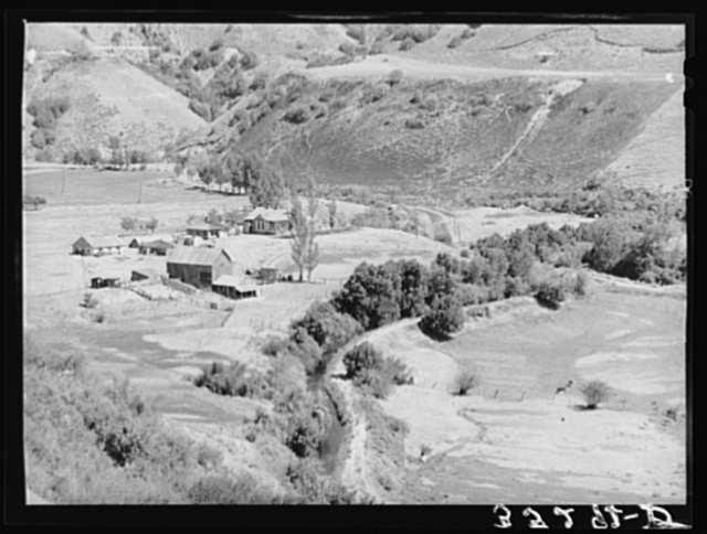 Farmstead and irrigation ditch on outskirts of Logan, Utah