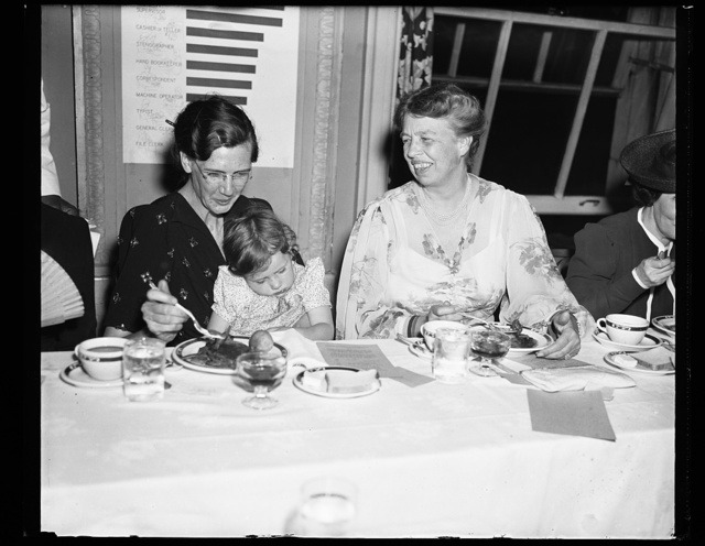 FIRST LADY EATS FIVE CENT MEAL. WASHINGTON, D.C. MAY 14. CLIMAXING A CONFERENCE OF 'DAUGHTERS OF THE AMERICAN DEPRESSION,' MRS. FRANKLIN D. ROOSEVELT AND OTHER PROMINENT WOMEN TONIGHT ATE A FIVE CENT 'RELIEF' DINNER. THE FIVE CENT MEAL WAS BASED ON THE ACTUAL PER- MEAL PER-PERSON FOOD BUDGET OF THE AVERAGE WOMAN WORKING ON WPA. IT EXCEEDS BY 2 CENTS THE AVERAGE FOR RELIEF FAMILIES. SHOWN IN THE PICTURE, L TO R: MRS. HUGH EASLEY, ST. LOUIS, MO, TYPICAL MOTHER ON RELIEF; LITTLE ...BASLEY, 3 YEARS OLD; AND MRS. ROOSEVELT