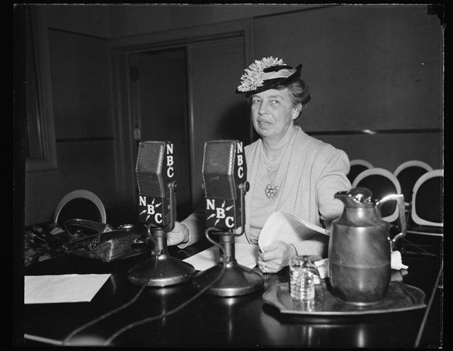 FIRST LADY INAUGURATES NEW SERIES OF RADIO TALKS. WASHINGTON, D.C. APRIL 30. IN THE FIRST BROADCAST OPENING HER NEW SERIES OF TWICE-WEEKLY INFORMAL RADIO TALKS FOR A COMMERCIAL SPONSOR, MRS. ROOSEVELT TODAY SAID HER DESIRE TO ESCAPE A 'FEATHER-BED KIND OF EXISTENCE AT THE WHITE HOUSE' WAS ONE OF HER REASONS FOR MAKING EXTENSIVE TRIPS AROUND THE COUNTRY