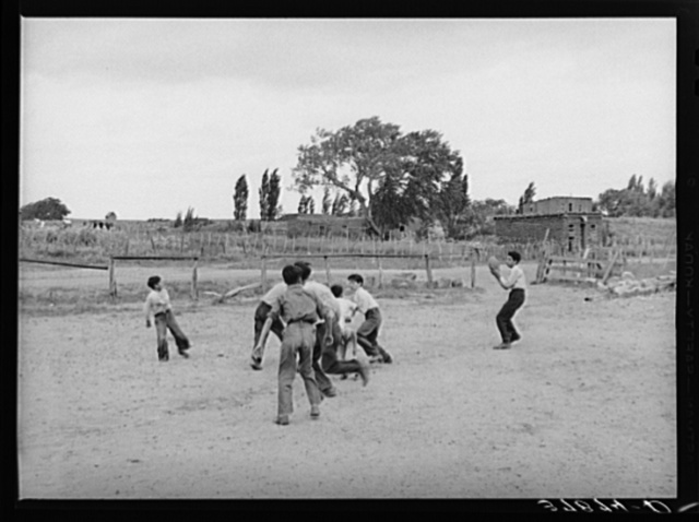 Football is played by the schoolboys at Concho, Arizona