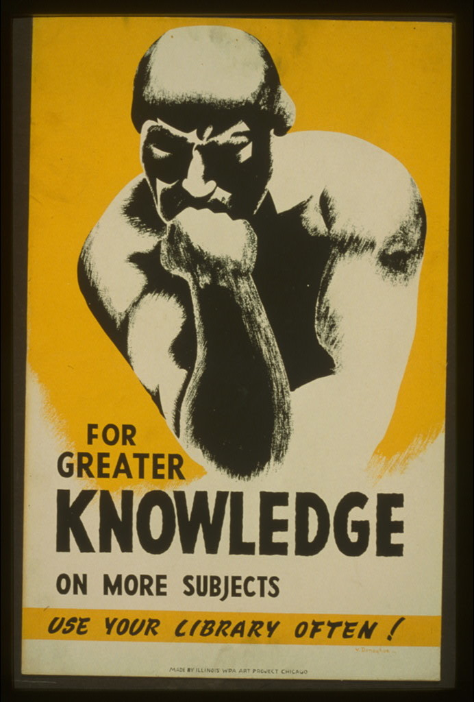 For greater knowledge on more subjects use your library often! / V. Donaghue.