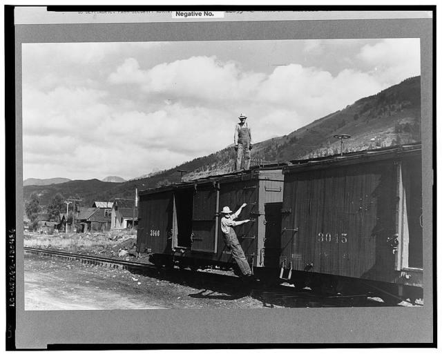 Freight cars of narrow gauge railway, Telluride, Colorado