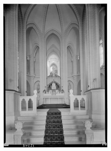 """French church & orphanage of """"Jesus Adolescent"""" in Nazareth. Int[erior] of basilica taken closer up to altar"""