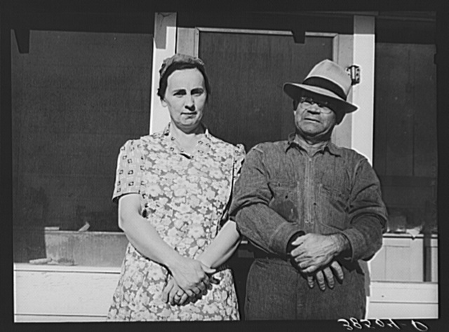 Fruit farmer and his wife, Placer County, California. This couple have changed the varieties of fruit which they grow to meet changed market conditions; they also have garden, pigs, cows, etc. He paid seventy-four thousand dollars for his one hundred fifty acres today and is in fair conditions today