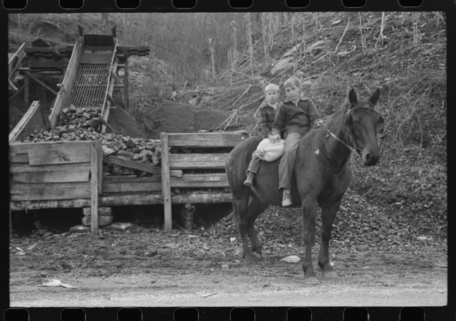 FSA (Farm Security Administration) borrower's children returning home on muleback with a sack of meal. Knox County, Kentucky