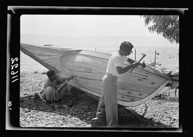 Galilee trip. Tiberias fisheries (Arab). Fisherman tacking their boat