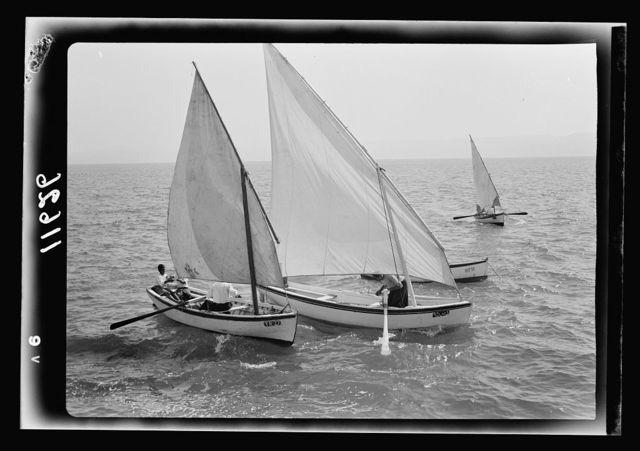 Galilee trip. Tiberias fisheries (Arab). Fishing boats setting out