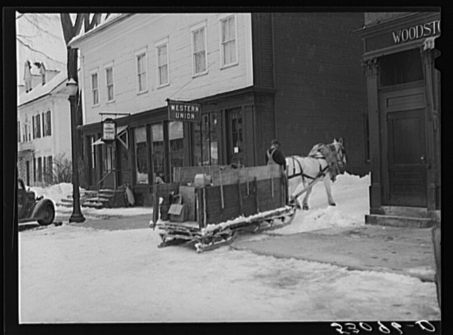 Garbage and rubbish is collected with horse and sled in winter, Woodstock, Vermont