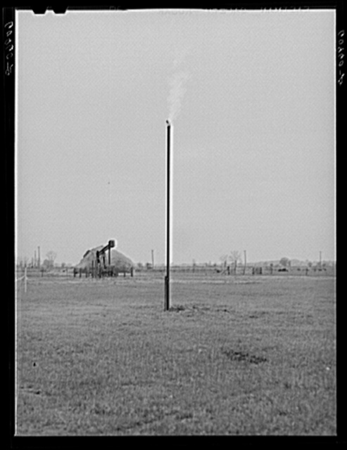 Gas burning in oil fields. White County, Illinois