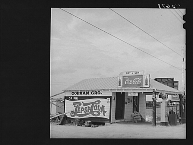 Gas station and store operated by tobacco farmer. On highway 15, about five miles north of Durham, North Carolina