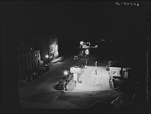 Gas station at night. Dubuque, Iowa