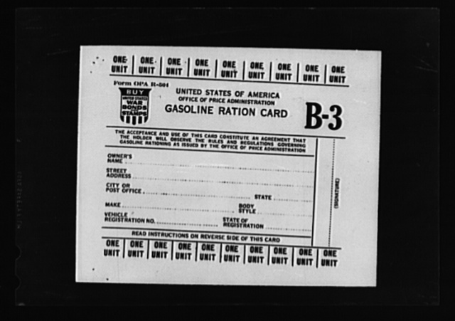 Gasoline ration card B3. Registrars are empowered to issue B3 cards to persons whose applications show that their vocational requirements are greater than those which the basic allotment card A provides and cannot be met by B1 or B2 cards