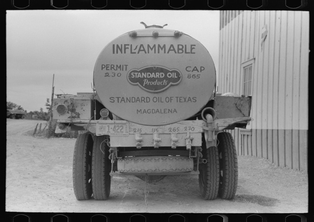 Gasoline truck which brings gasoline into Pie Town, New Mexico