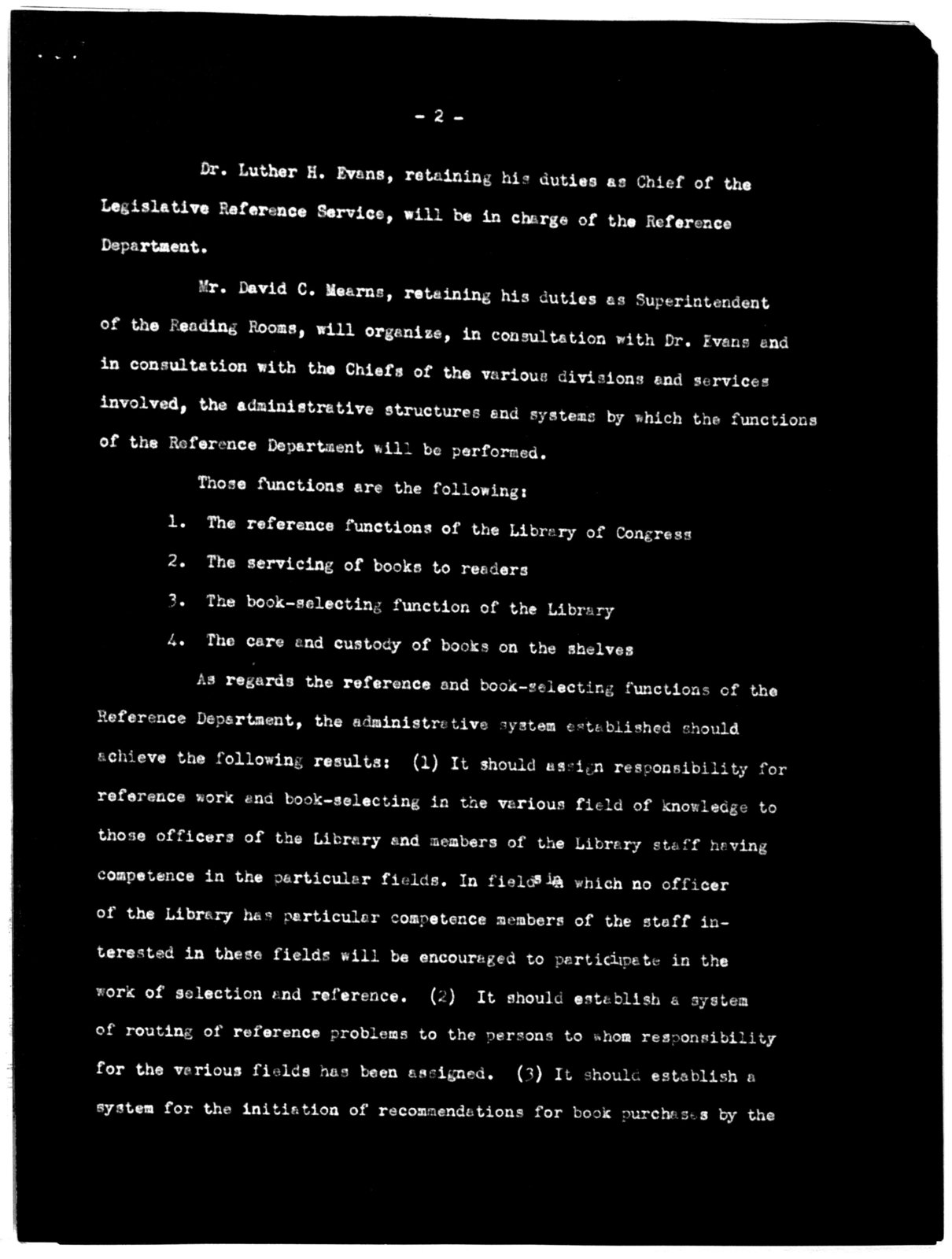 General Order No. 964, Office of the Librarian, Library of Congress, June 29, 1940