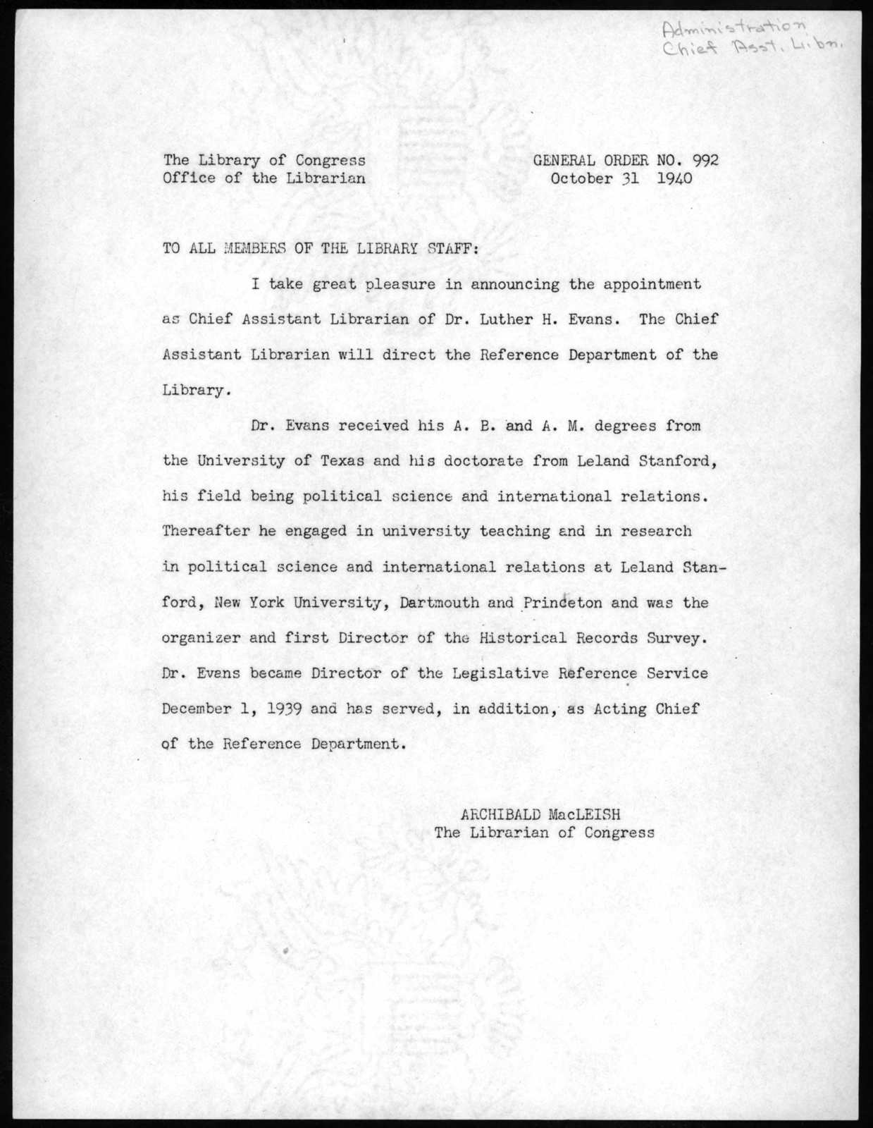 General Order No. 992, Office of the Librarian, Library of Congress, October 31, 1940