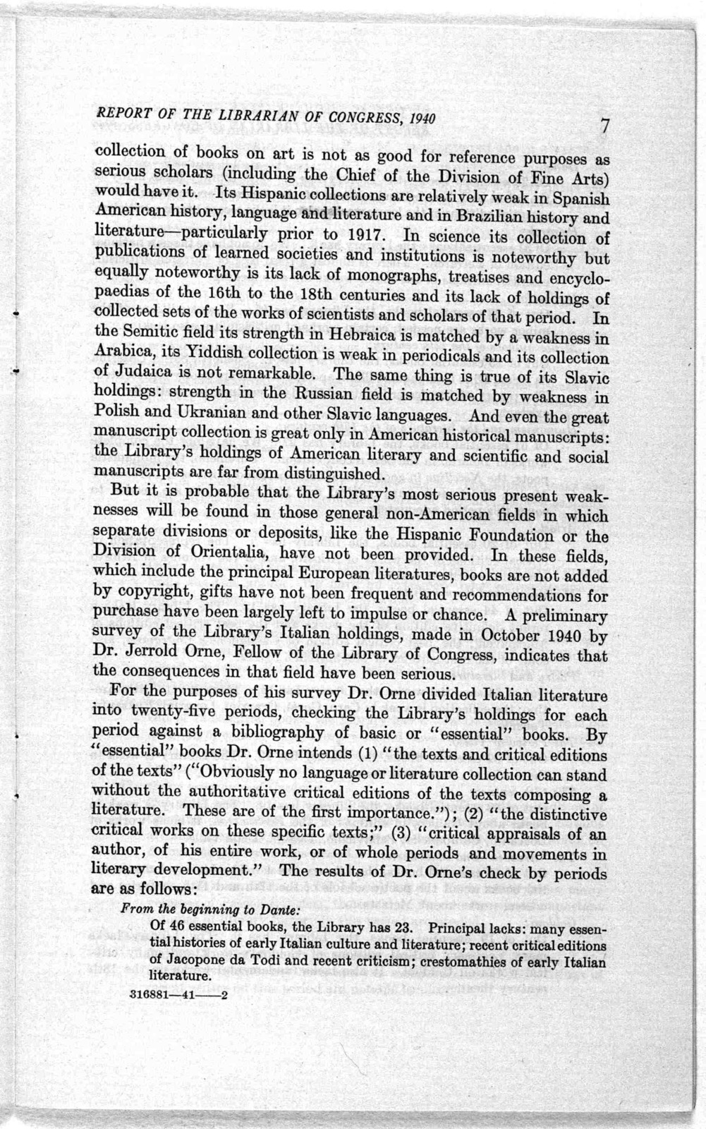 """""""General Survey and Statement of Objectives by the Librarian,"""" June 30, 1940"""