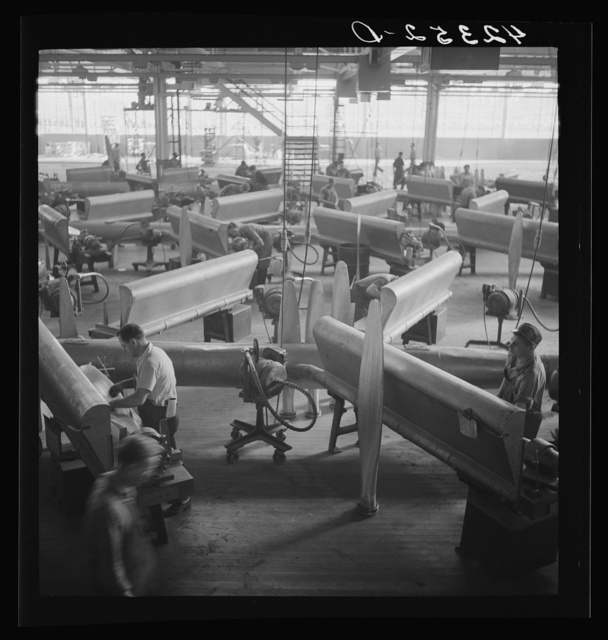 General view of propeller grinding and finishing operations at Hamilton Standard Propeller Corporation. East Hartford, Connecticut