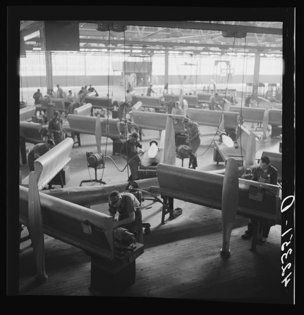 General view of propeller grinding and finishing operations at the Hamilton Standard Propeller Corporation. East Hartford, Connecticut