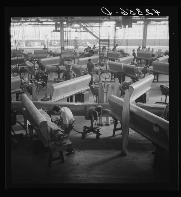 General view of propeller grinding and finishing operations at the Hamilton Standard Propeller Corporation. Connecticut
