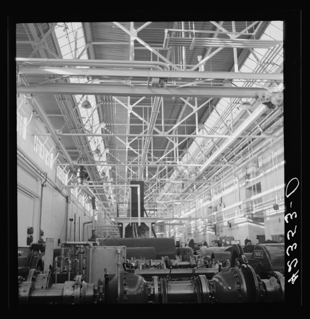 General view on one of the factory floors at the Pratt and Whitney Aircraft Corporation. East Hartford, Connecticut