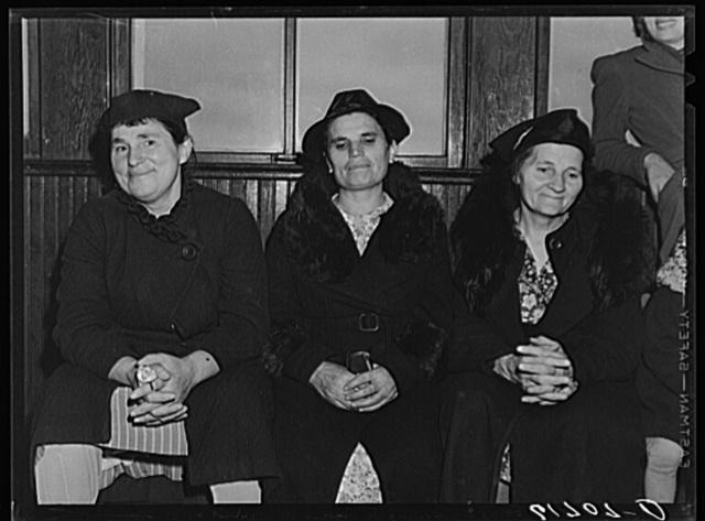 German-Russian farm women in school on election day, November 1940. McIntosh County, North Dakota