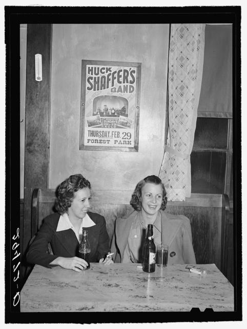 Girls in beer parlor adjoining dance hall. Marshalltown, Iowa
