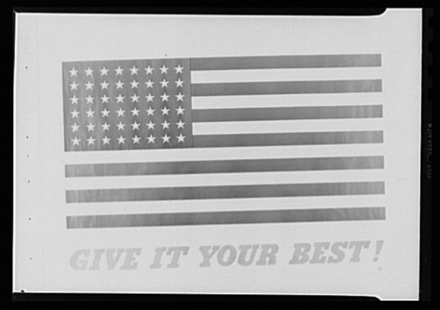 Give It Your Best. Three-color (red, white and blue) poster designed and distributed July 1 by the Division of Information, Office for Emergency Management (OEM) , for display in war plants throughout the nation. Sizes available: 40 x 56 in., 28 x 40 in. 28 1/2 x 20 in., 14 x 20 in. and 10 x 18 in.
