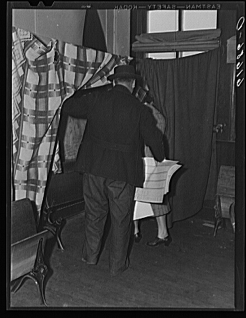 Going into polling booth. Election day, 1940. McIntosh County, North Dakota