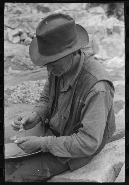 Gold prospector putting flakes of gold which he has recovered through wet washing and panning into bottle. Pinos Altos, New Mexico