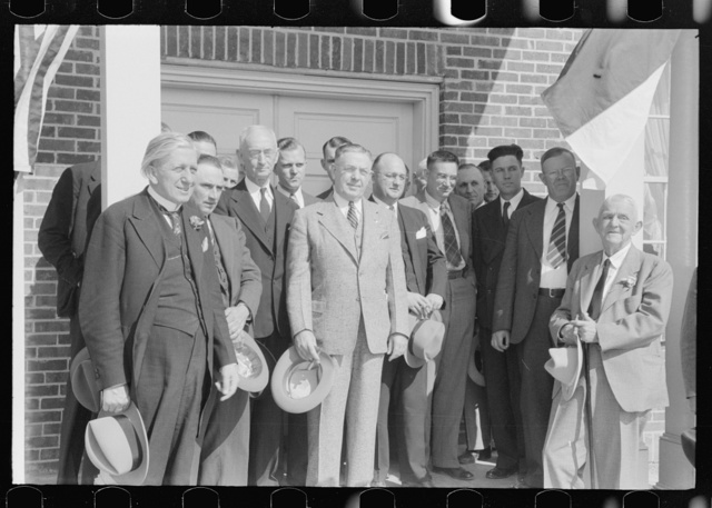 Governor Hooey with members of Caswell County Communities at the dedication of the new Anderson High School building. Caswell County, North Carolina