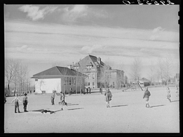 Grade school pupils in playground of experimental school for education of students. University of Wyoming at Laramie