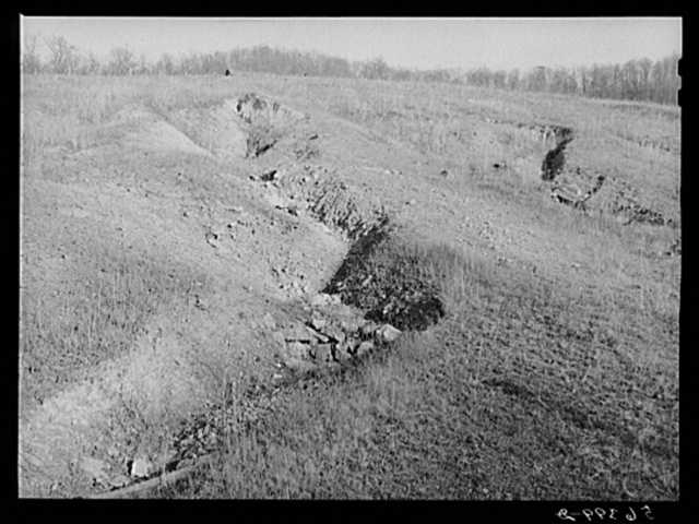 Gullies on eroded hillside near Dut Calleb's farm. Southern Appalachian Project near Barbourville, Knox County, Kentucky
