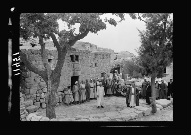 Halhul village at kilom[eter] 30 on Hebron road. Courtyard in front of guest chamber, Halhul