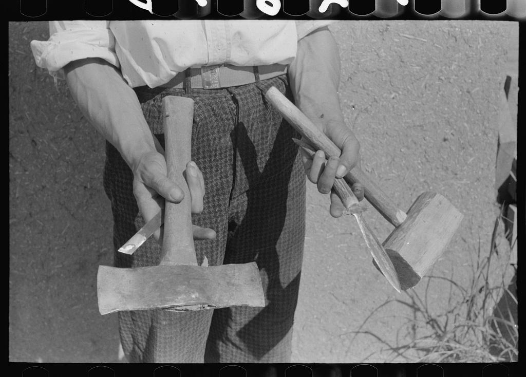 Handmade tools of Spanish-American farmer at Chamisal, New