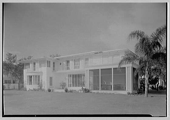 Harry R. Playford, residence at 415 Brightwaters Blvd., St. Petersburg, Florida. Bay facade