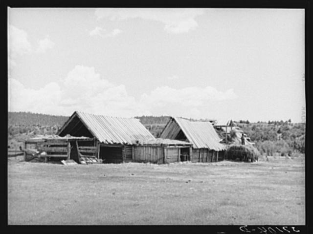 Hay barns of Spanish-American farmer at Llano, New Mexico