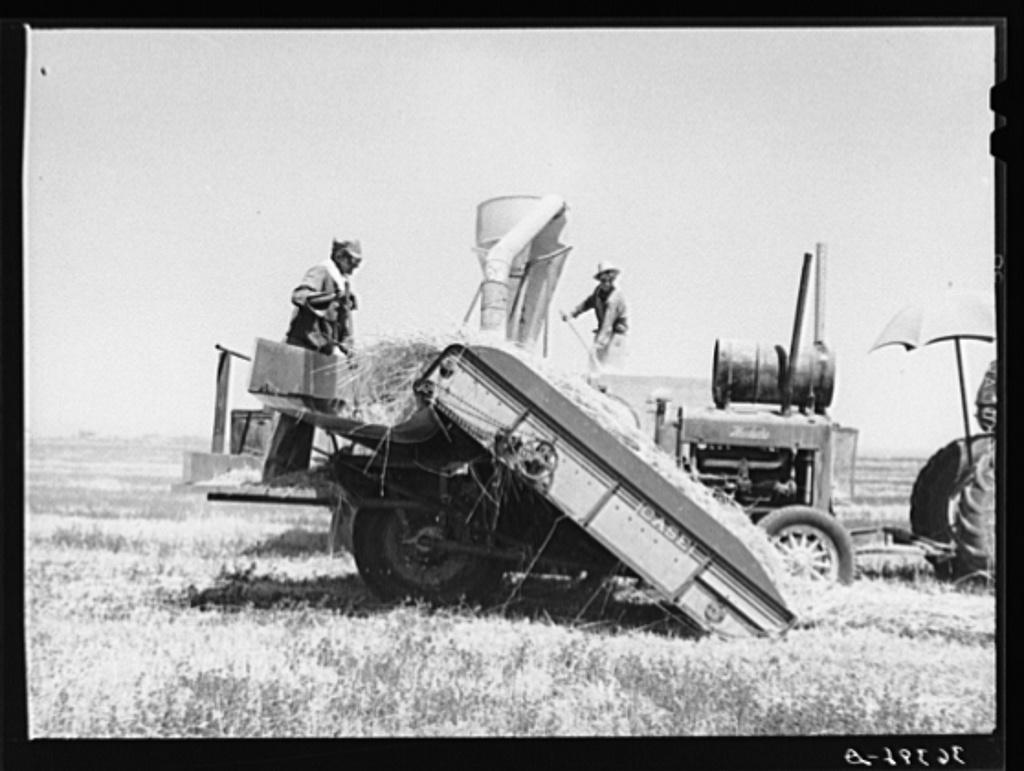 Hay machine at the Casa Grande Valley Farms. Pinal County, Arizona