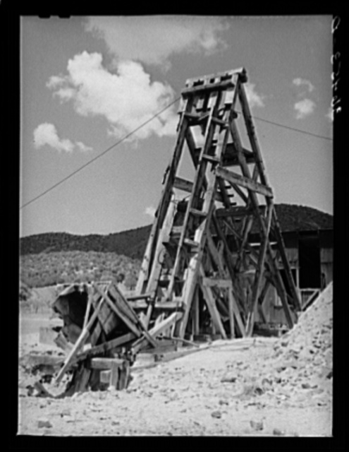 Head frame at old gold mine at Pinos Altos, New Mexico