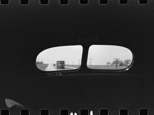 Highway from rear window of automobile in Bexar County, Texas