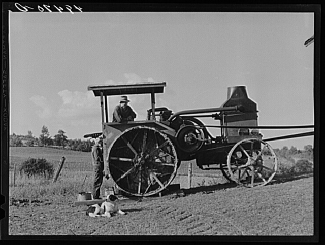 Hired man working tractor engine used for threshing on farm of Alfred Shaffner, a farmer in the submarginal area of Sugar Hill, near Townsend, Connecticut