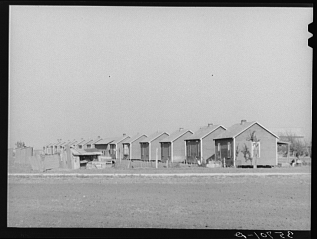 Houses for permanent and migratory workers on large cotton farm in