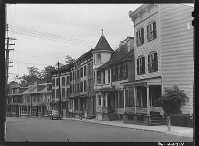 Houses on Broadway. Mauch Chunk, Pennsylvania