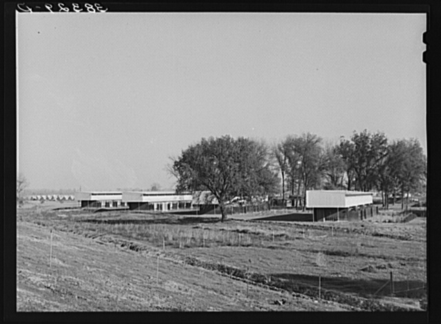 Housing for permanent farm workers at the Yuba City FSA (Farm Security Administration) farm workers' camp. Yuba City, California