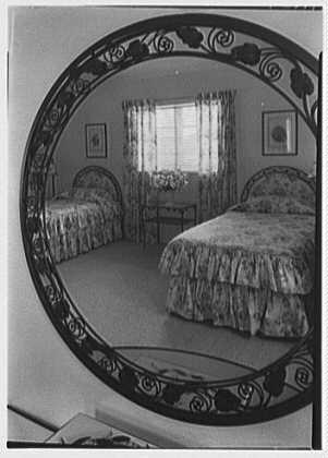 H.T. Morgan, residence at 31 LaGorce Cir., Miami Beach, Florida. Upper guest room, mirror detail