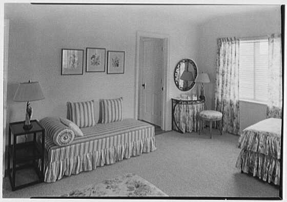H.T. Morgan, residence at 31 LaGorce Cir., Miami Beach, Florida. Upper guest room, to lounge and dressing table